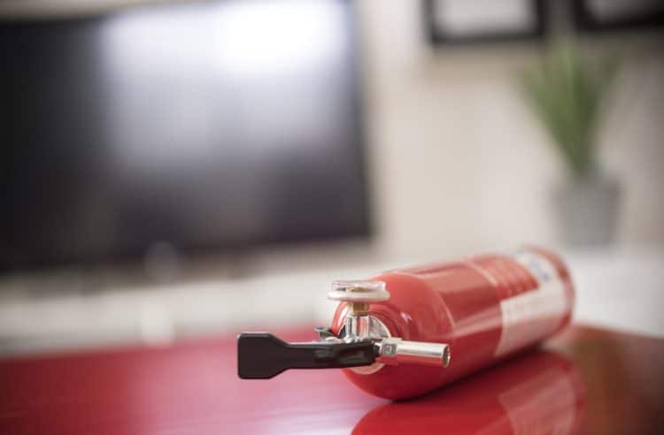 close up shot of fire extinguisher