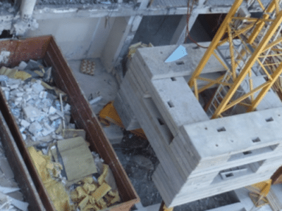 Waste recovered from the construction industry with DÉMOCLÈS